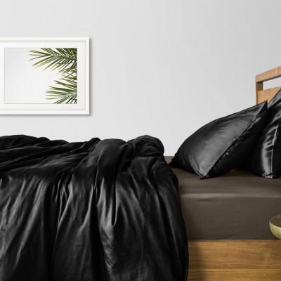 Комплект постельного белья сатин люкс «Черный_серый_240» евро Cosas