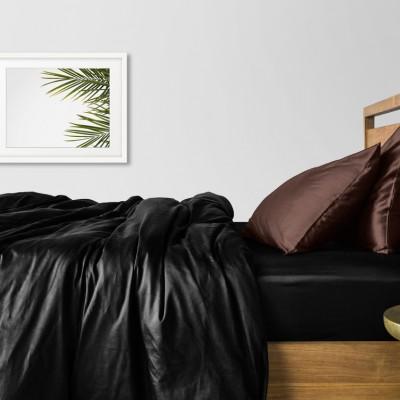 Комплект постельного белья сатин люкс «Сатин_Черный_ШоколадН» Cosas