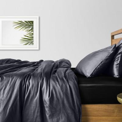 Комплект постельного белья сатин люкс «Черный_серый_240_1» евро Cosas
