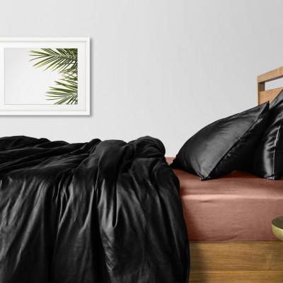 Комплект постельного белья сатин люкс «Сатин_Черный_КофеП» Cosas