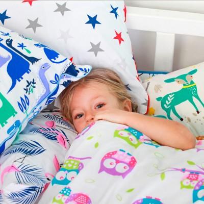 Детский комплект постельного белья бязь голд «Дино_синий_11» в кроватку Cosas