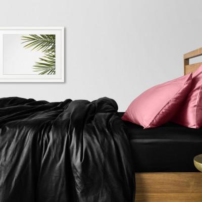 Комплект постельного белья сатин люкс «Сатин_Черный_ПудраН» Cosas