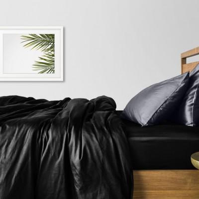 Комплект постельного белья сатин люкс «Сатин_Черный_СерыйН» Cosas