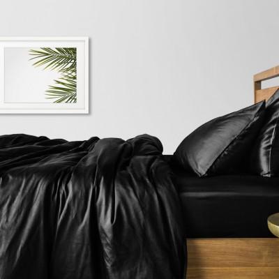 Комплект постельного белья сатин люкс «Черный_240» евро Cosas