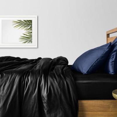 Комплект постельного белья сатин люкс «Сатин_Черный_СинийН» Cosas
