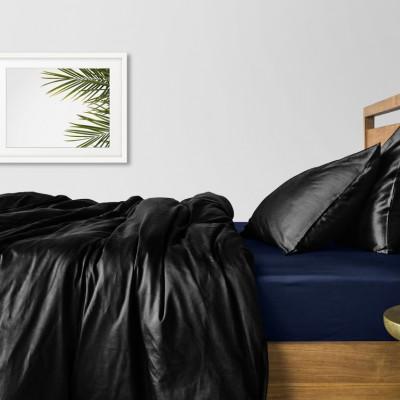 Комплект постельного белья сатин люкс «Сатин_Черный_СинийП» Cosas