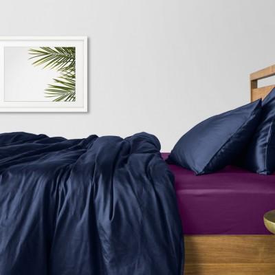 Комплект постельного белья сатин люкс «Сатин_Синий_ФиолетП» Cosas