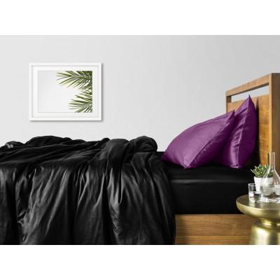 Комплект постельного белья сатин люкс «Сатин_Черный_ФиолетН» Cosas