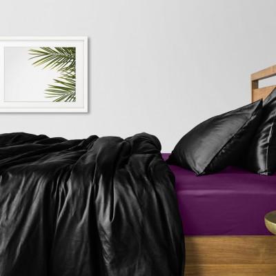 Комплект постельного белья сатин люкс «Сатин_Черный_ФиолетП» Cosas