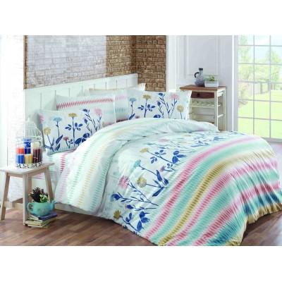 Постельное белье Majoli ранфорс «Greenhouse-Blue»