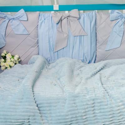 Комплект в кроватку 11 предметов сатин «Шарм» серо-голубой