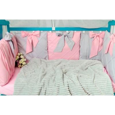 Комплект в кроватку 11 предметов сатин «Шарм» серо-розовый