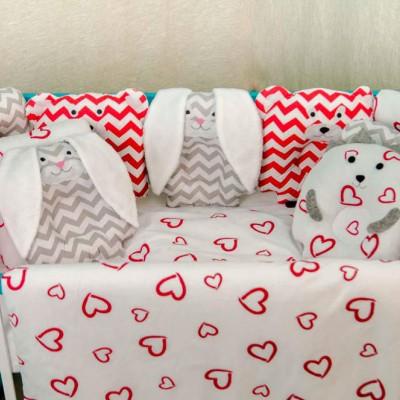 Комплект в кроватку 11 предметов бязь «Лесные зверята» валентинки