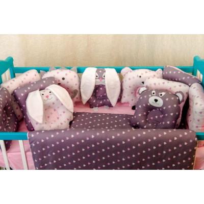 Комплект в кроватку 11 предметов бязь «Лесные зверята» сердечки маленькие