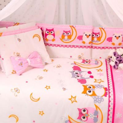 Комплект в кроватку 15 предметов бязь «Купон Есо» совушки