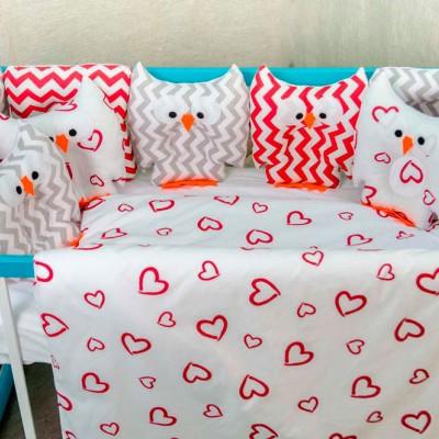Комплект в кроватку 11 предметов бязь «Совушки» валентинки