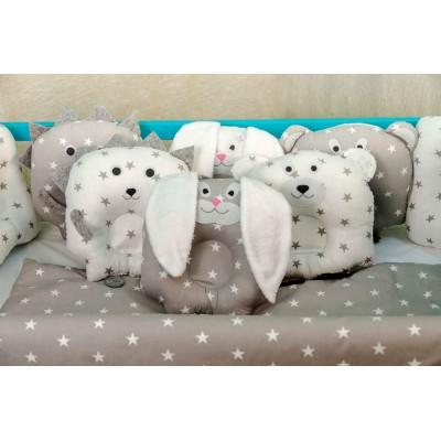 Комплект в кроватку 11 предметов бязь «Лесные зверята» серо-белые звезды