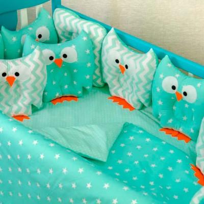 Комплект в кроватку 11 предметов бязь «Совушки» мята-мята