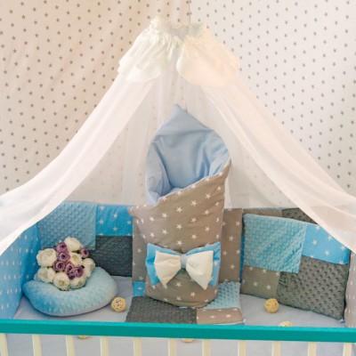 Комплект в кроватку 14 предметов бязь «Eco 3 Minky» серо-голубой