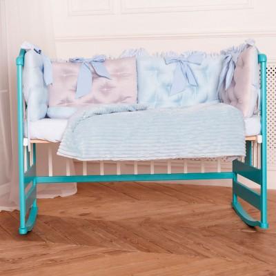 Комплект в кроватку 10 предметов сатин «Бусинка» серо-голубой