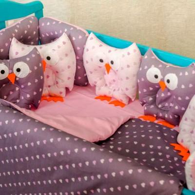 Комплект в кроватку 11 предметов бязь «Совушки» сердечки маленькие