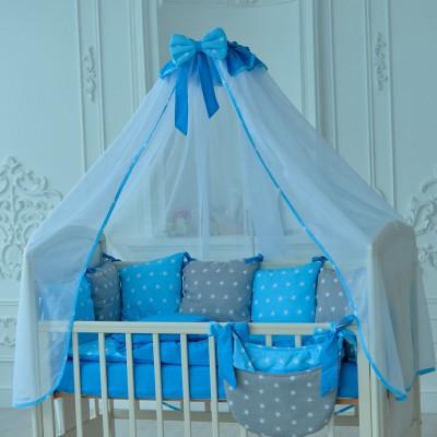 Комплект в кроватку 18 предметов бязь «Bravo» серо-голубые звезды