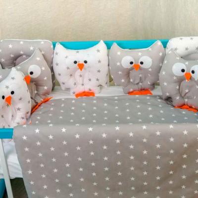 Комплект в кроватку 11 предметов бязь «Совушки» серо-белая звезда