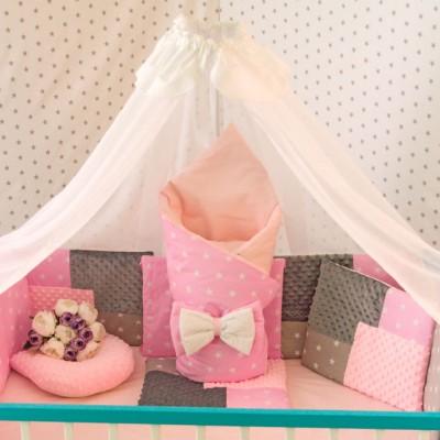 Комплект в кроватку 14 предметов бязь «Eco 3 Minky» серо-розовый
