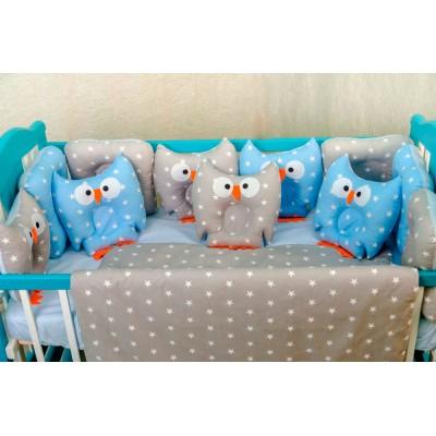 Комплект в кроватку 11 предметов бязь «Совушки» серо-голубые звезды
