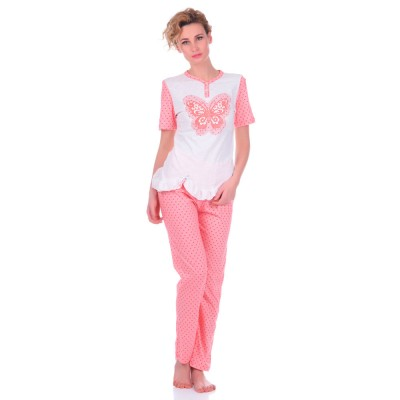 Комплект одежды «Butterfly» розовый (футболка капри) Miss First