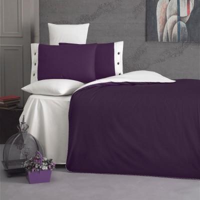 Комплект постельного белья ранфорс «Juliet» пурпле/крем Luoca Patisca