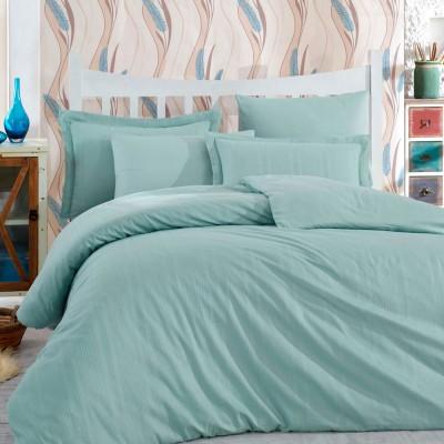 Комплект постельного белья сатин-жаккард «Diamond Stripe» мятный | Hobby