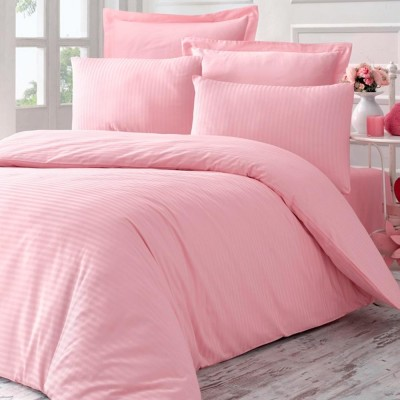 Комплект постельного белья сатин-жаккард «Line» евро| пудра | Victoria