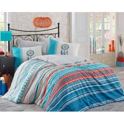 Комплект постельного белья ранфорс «Ranforce Eva» бирюзовый | Hobby