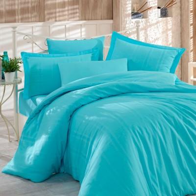 Комплект постельного белья сатин-жаккард «Diamond Stripe» аква | Hobby