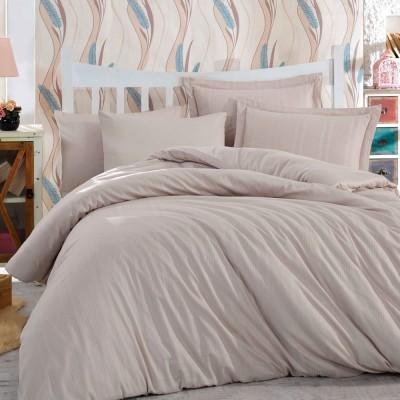 Комплект постельного белья сатин-жаккард «Diamond Stripe» капучино | Hobby