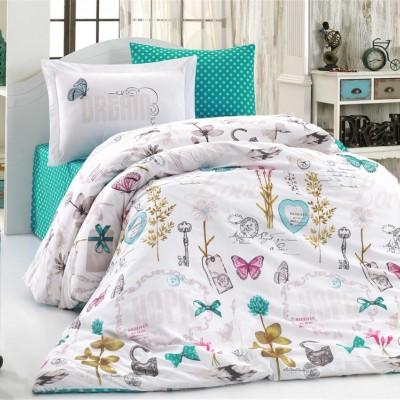 Комплект постельного белья поплин «Rossela» бирюзовый