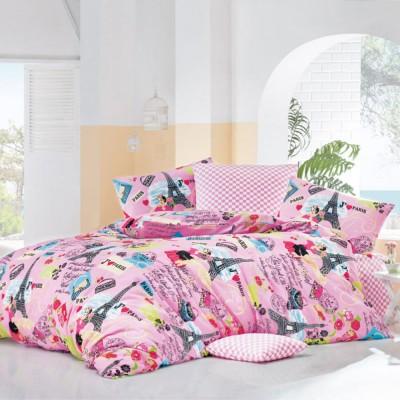 Комплект постельного белья бязь голд «Love Paris» розовый Light House