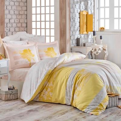 Комплект постельного белья сатин «Elsa» желтый Hobby