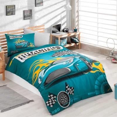 Комплект постельного белья ранфорс «Racing» берюза | Hobby