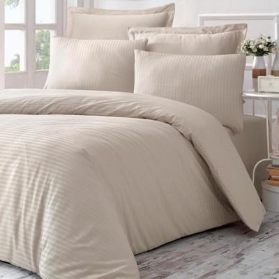 Комплект постельного белья сатин-жаккард «Line» евро | бежевый | Victoria