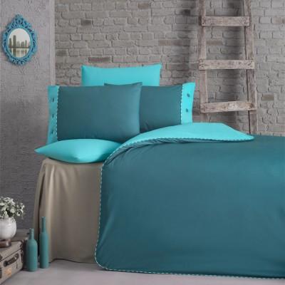 Комплект постельного белья ранфорс «Juliet» берюза Luoca Patisca