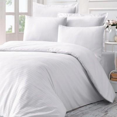 Комплект постельного белья сатин-жаккард «Line» евро | белый | Victoria