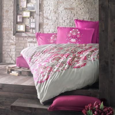Комплект постельного белья сатин «Laissa» фуксия Luoca Patisca