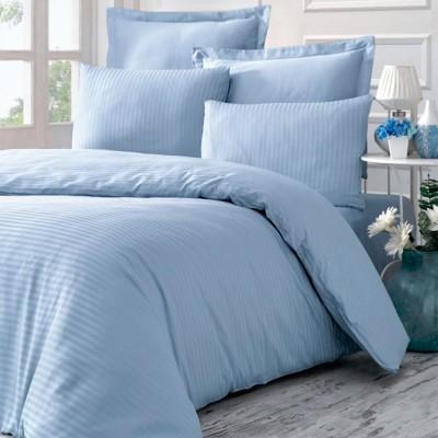 Комплект постельного белья сатин-жаккард «Line» евро | голубой | Victoria