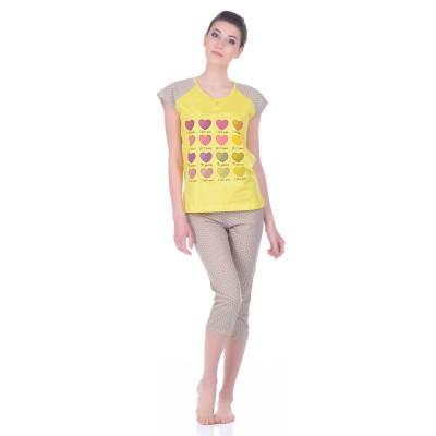 Комплект одежды «I Love You» беж (футболка капри) Miss First