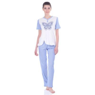 Комплект одежды «Butterfly» голубой (футболка штаны) Miss First