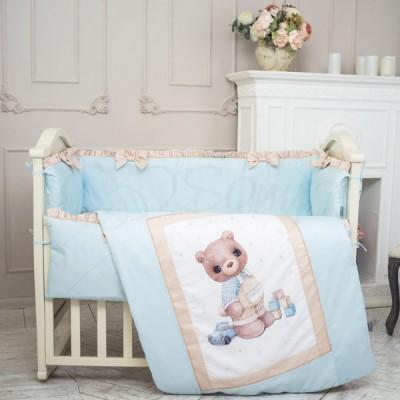 Комплект в детскую кроватку 6 предметов «Мишка Bonya мальчик»