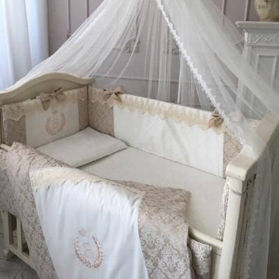 Комплект в кроватку с балдахином 7 предметов «De Lux» бежевый