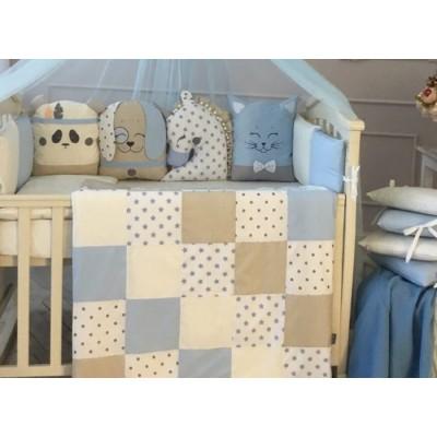Комплект в детскую кроватку 6 предметов «Chudiki classic» голубой